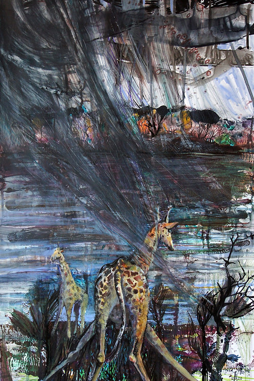 In the yellow and hot Africa - original genre artwork