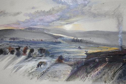 Silent landscape. Woof! - original pastel