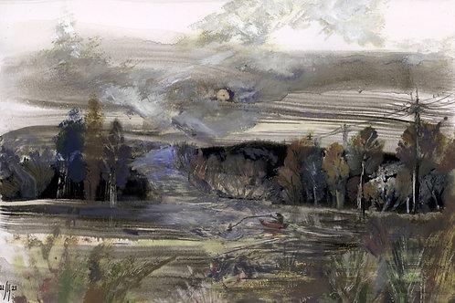 Silent landscape. Bite! - original painting