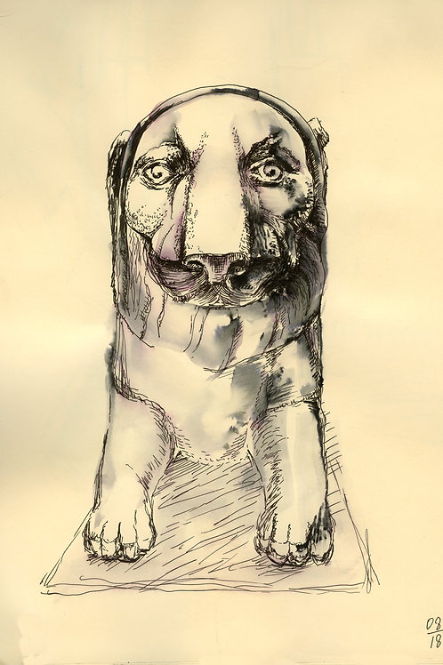 The lion from Pavlovsk - original urban sketch