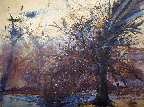 Stay for the winter - original landscape artwork
