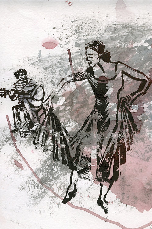 Dance. Flamenco - limited linocut edition