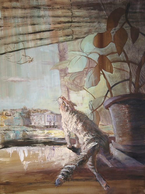 Cat's life. Dove of peace - original genre artwork