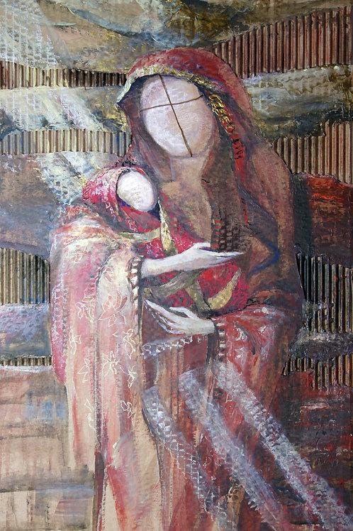 No-name Madonna in red - original artwork