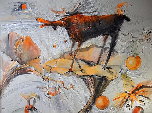 Dreams of something... orange - original graphic artwork
