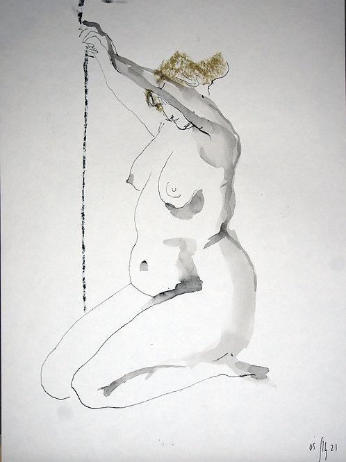 Vika. Nude art №21181 - original figurative sketch