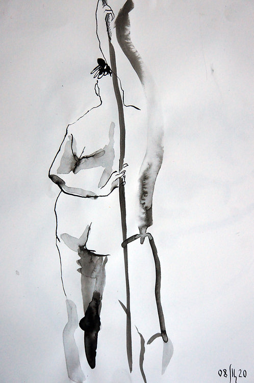 Anna nude female #20145 - original figurative sketch
