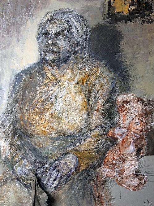 A knot for memory. Grandmother - original mix-media portrait