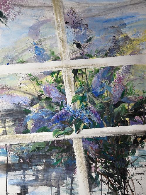 Outside the window. Lilac - original flower artwork