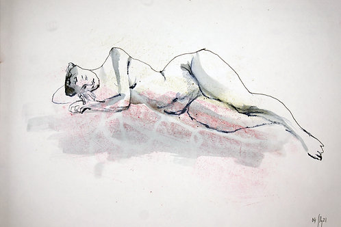 Susanna. Nude art №21134 - original figurative sketch