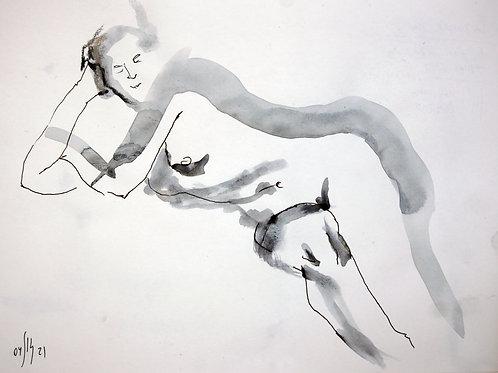 Susanna. Nude art №21144 - original figurative sketch