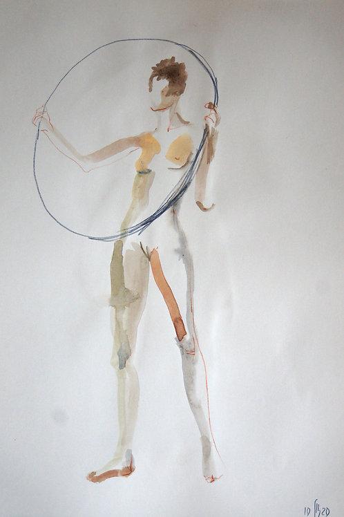 Victoria. Nude model  #20220 - original female figurative sketch