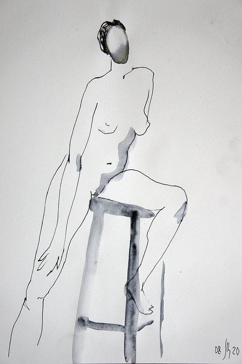 Elena. Nude #20178 female model - original graphic artwork