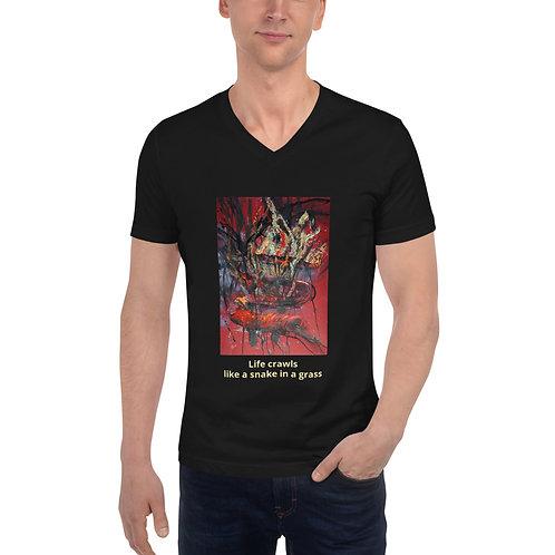 LIFE CRAWLS - Unisex Short Sleeve V-Neck T-Shirt