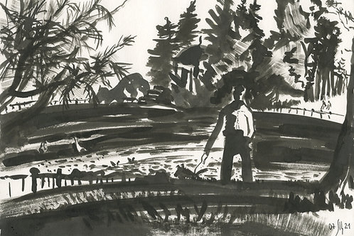 Krestovkiy pond - original urban sketch