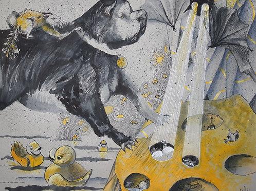 Dreams of something... yellow - original graphic artwork