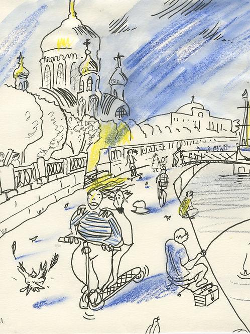 Shmidt embankment urban sketch #21299