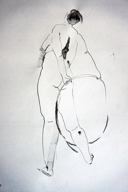 Anna nude female #20140 - original figurative sketch