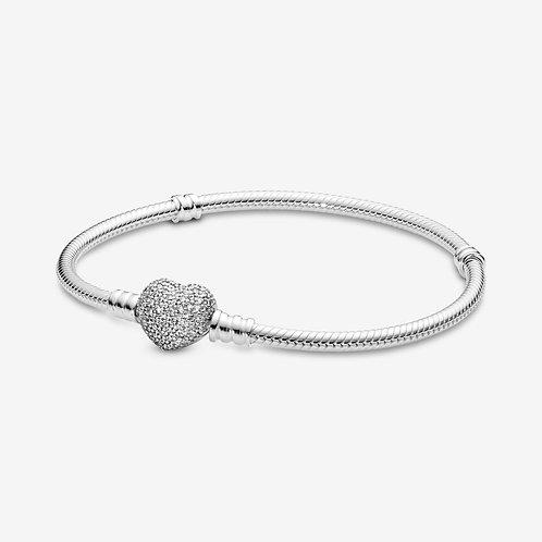 Pandora Moments Sparkling Heart Clasp Snake Chain Bracelet (Donation)
