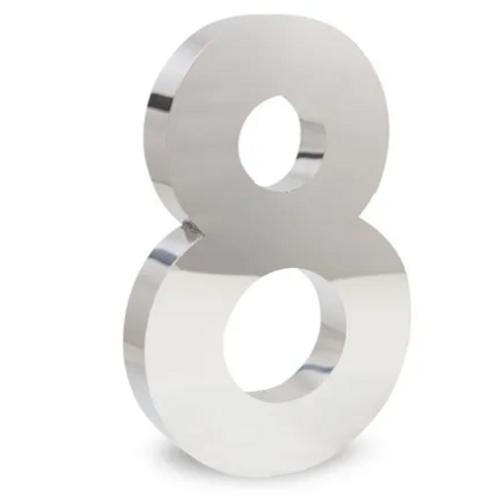 Número 8 de Aço Inox Polido 15Cm