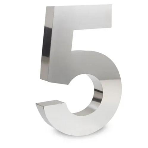 Número 5 de Aço Inox Polido 15Cm