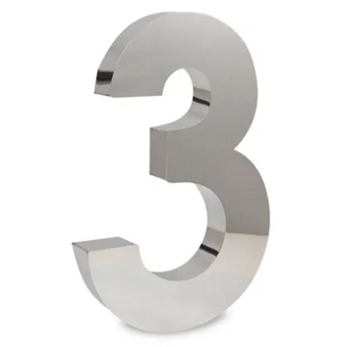 Número 3 de Aço Inox Polido 15Cm