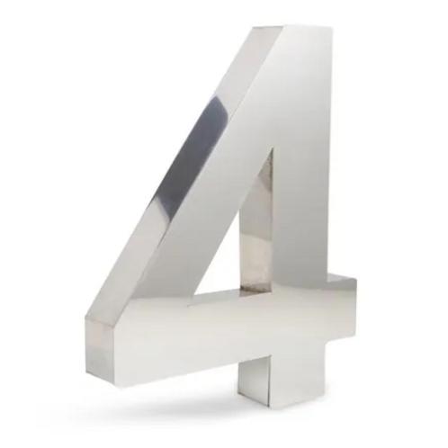 Número 4 de Aço Inox Polido 15Cm