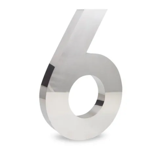 Número 6 de Aço Inox Polido 15Cm