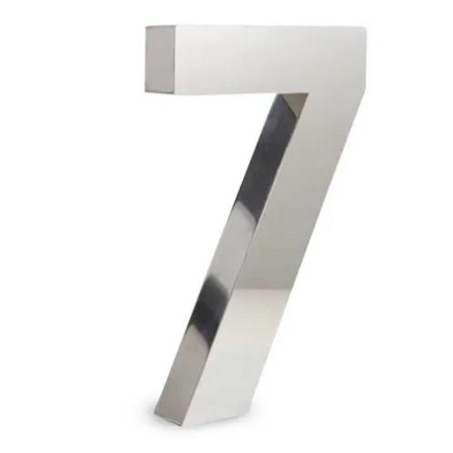 Número 7 de Aço Inox Polido 15Cm