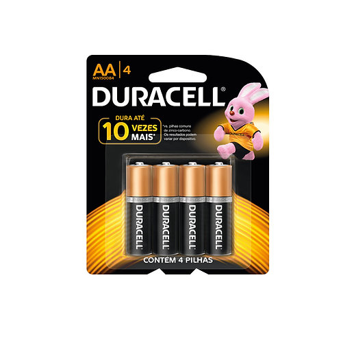 Pilha Duracell Alcalina AA 4 unidades