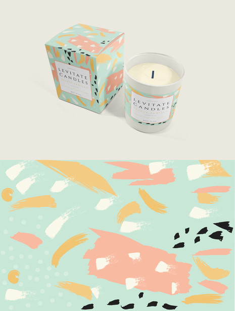 LEVITATE CANDLES LABEL AND BOX DESIGN