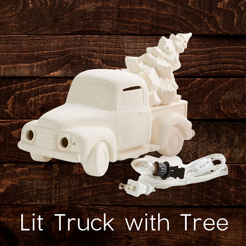 LIT TRUCK WITH TREE