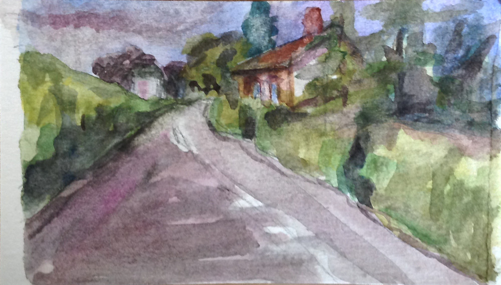 road mini watercolour painting