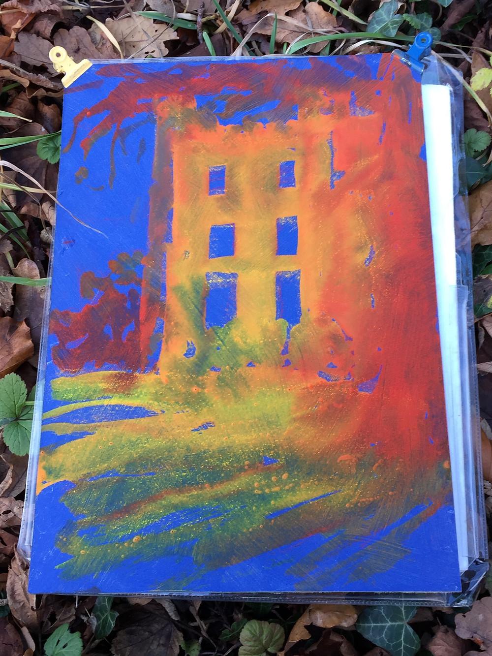 Lumley Castle Vibrant underpainting