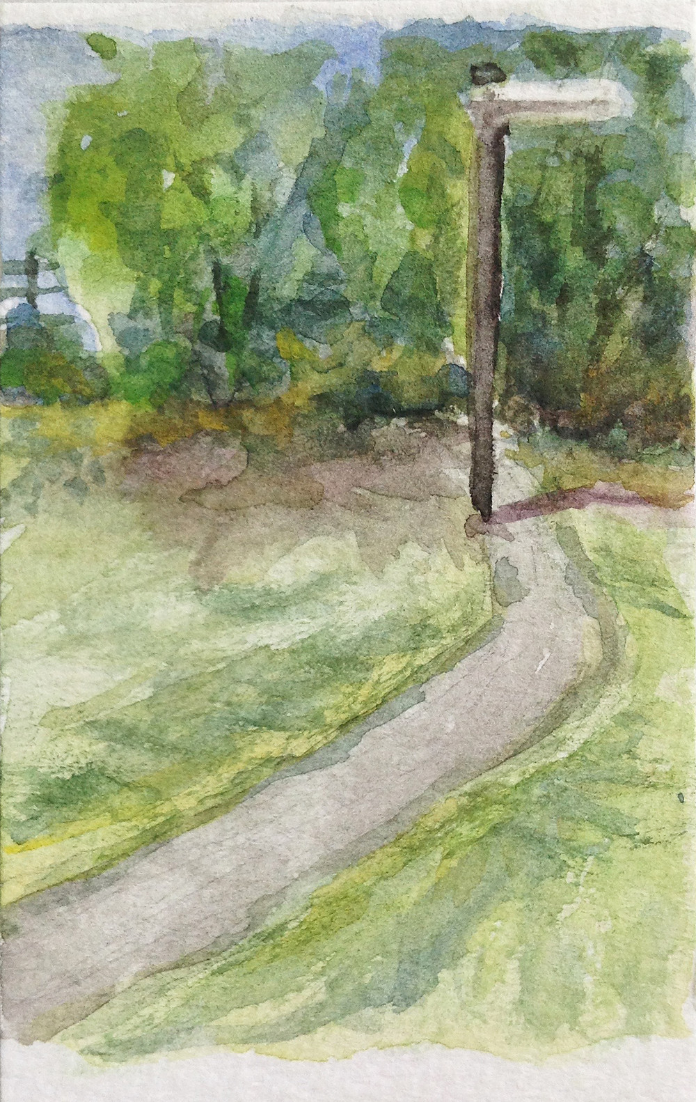 lamppost mini watercolour painting burley park