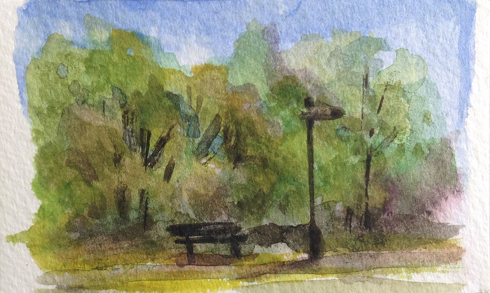 bench Burley Park mini watercolour painting