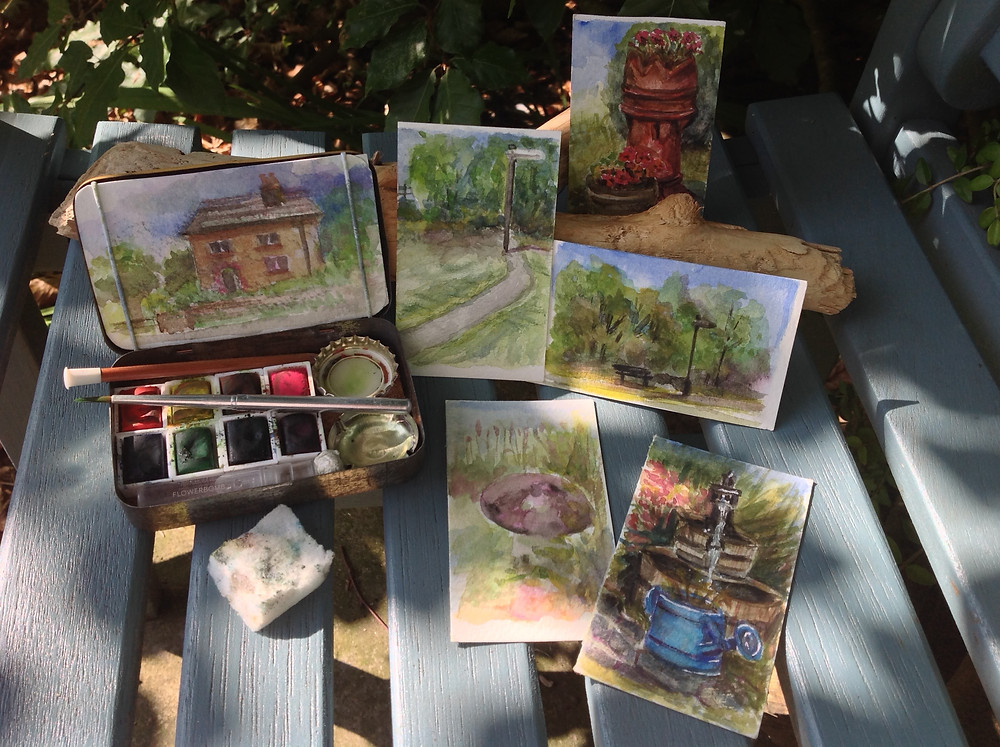 Mini watercolour paintings pochade