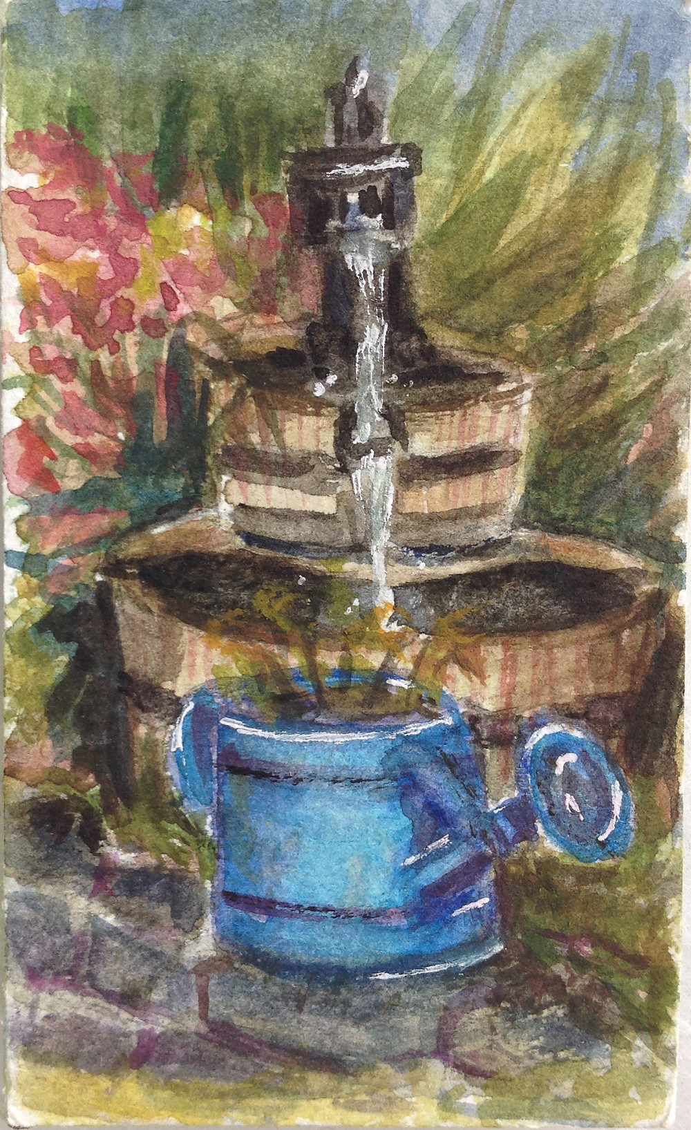 water feature mini watercolour painting