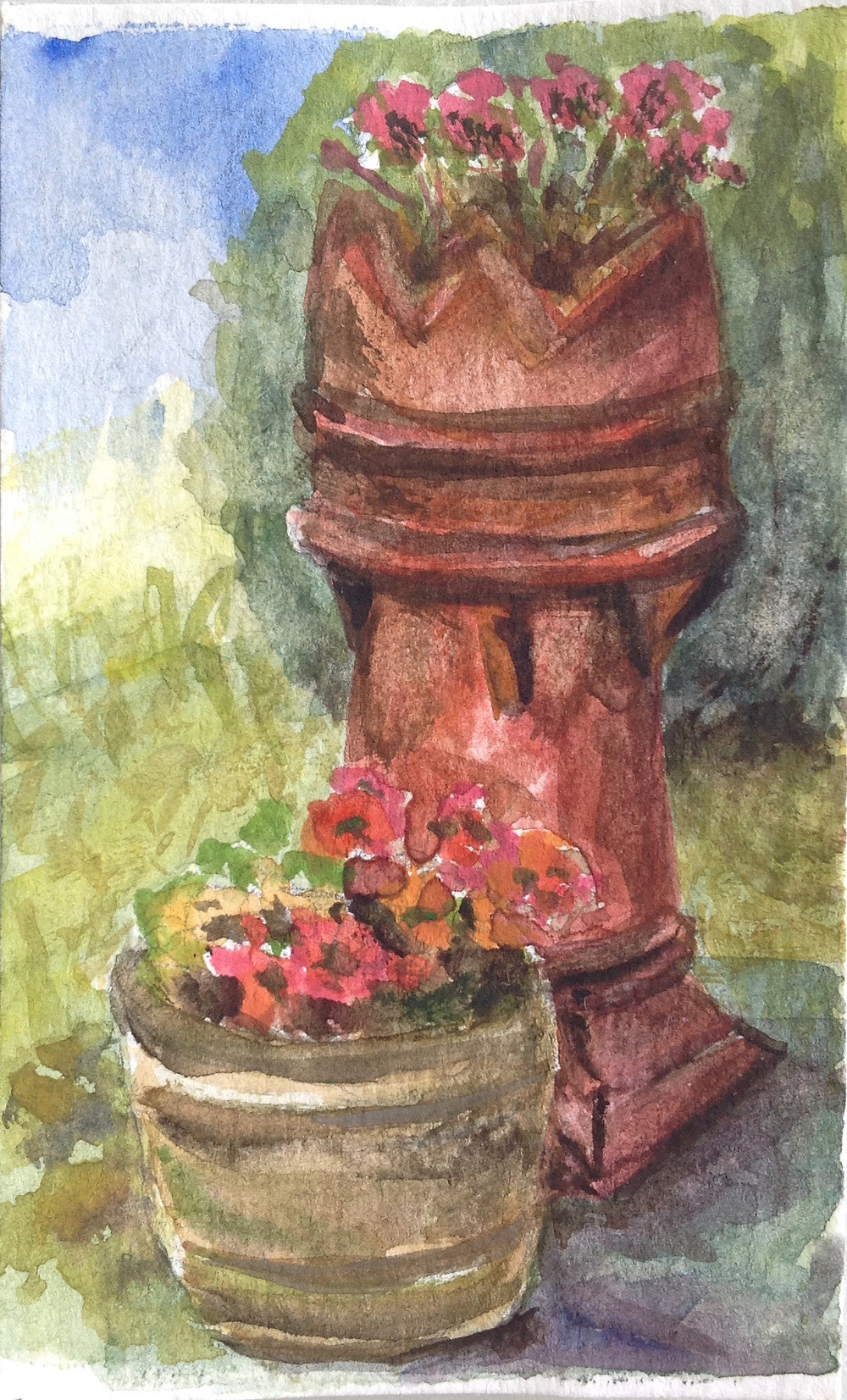 chimney pot garden feature mini watercolour painting