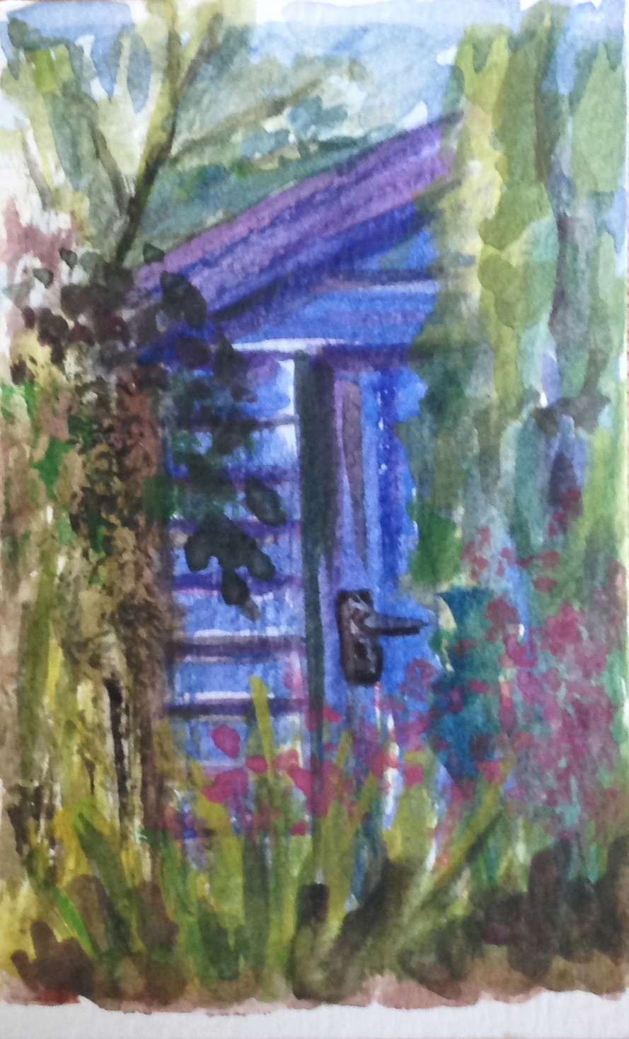 garden shed mini watercolour painting