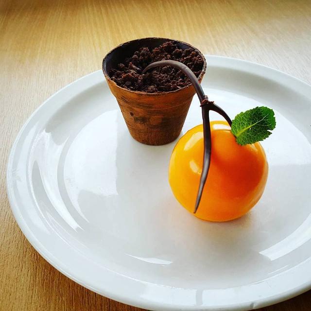 ORANGE MOUSSE, CHOCOLATE PLANTPOT