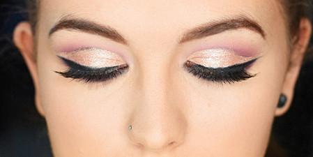 Pink cut crease with dark smoked-out winged liner