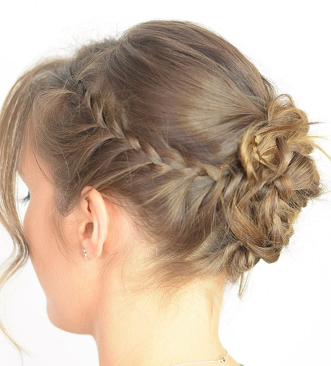 Romantic Updo with Lace Braids