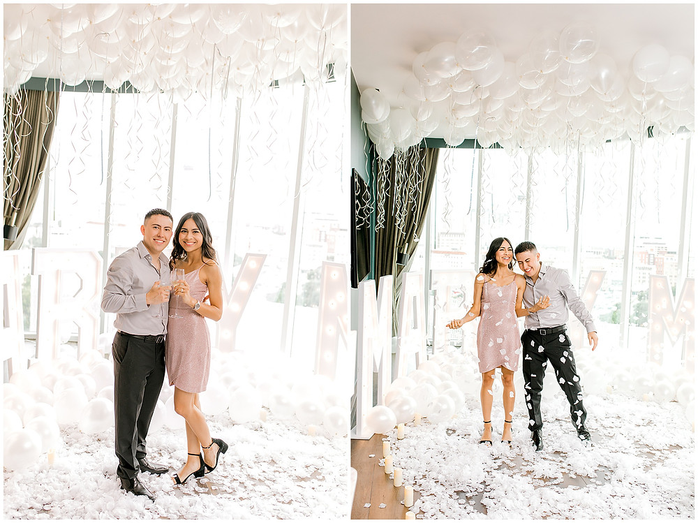 Wedding proposal at the Penthouse Suite of the Thompson Hotel in San Antonio Texas, San Antonio Wedding Photographer, Snap Chic Photography, The Thompson Hotel