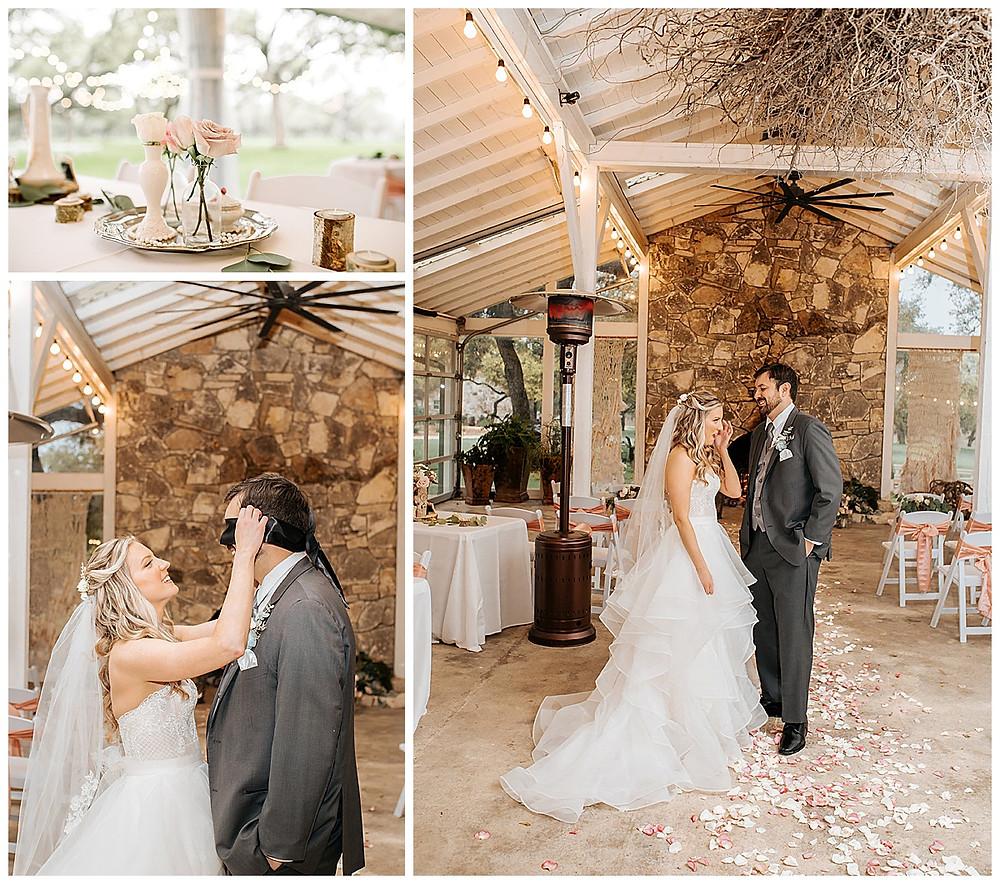 Boerne Wedding Planner | The Oaks at Boerne Wedding | Bride | Bridal Suite | Wedding Planning | Coronavirus Wedding | First Look | Centerpieces