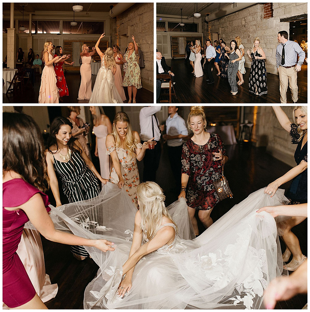 Wedding Reception | Bride Dancing | Events at Water St Wedding | Kerrville Wedding | Schreiner Mansion Wedding | Kerrville Wedding Planner | Bride and Bridesmaids | San Antonio Wedding Planner