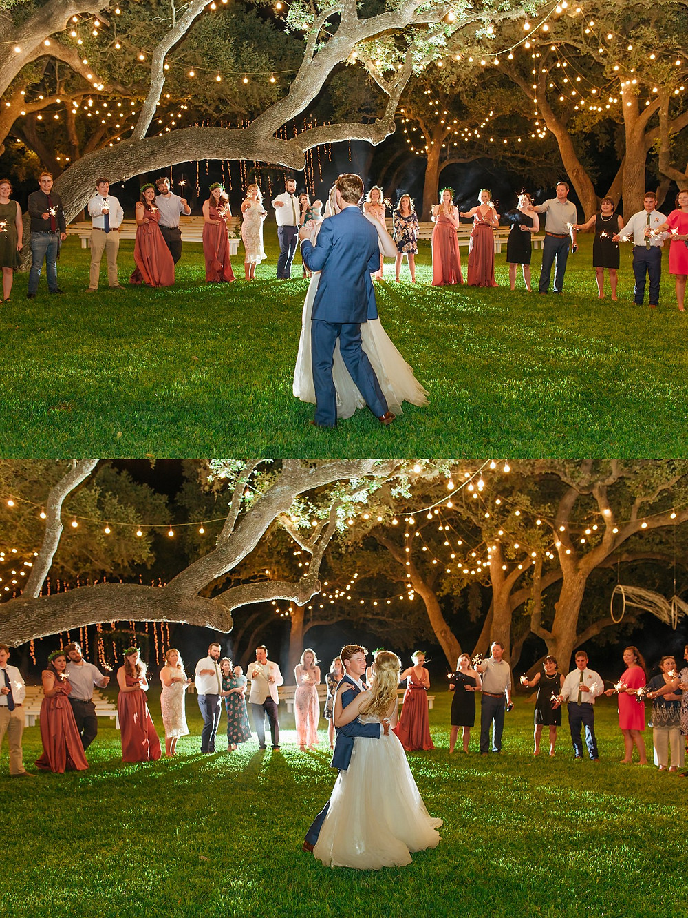 The Oaks at Boerne Wedding | Snap Chic Photography | Boerne and San Antonio Wedding Photographer  | Sparklers for First Dance | Night Portrait