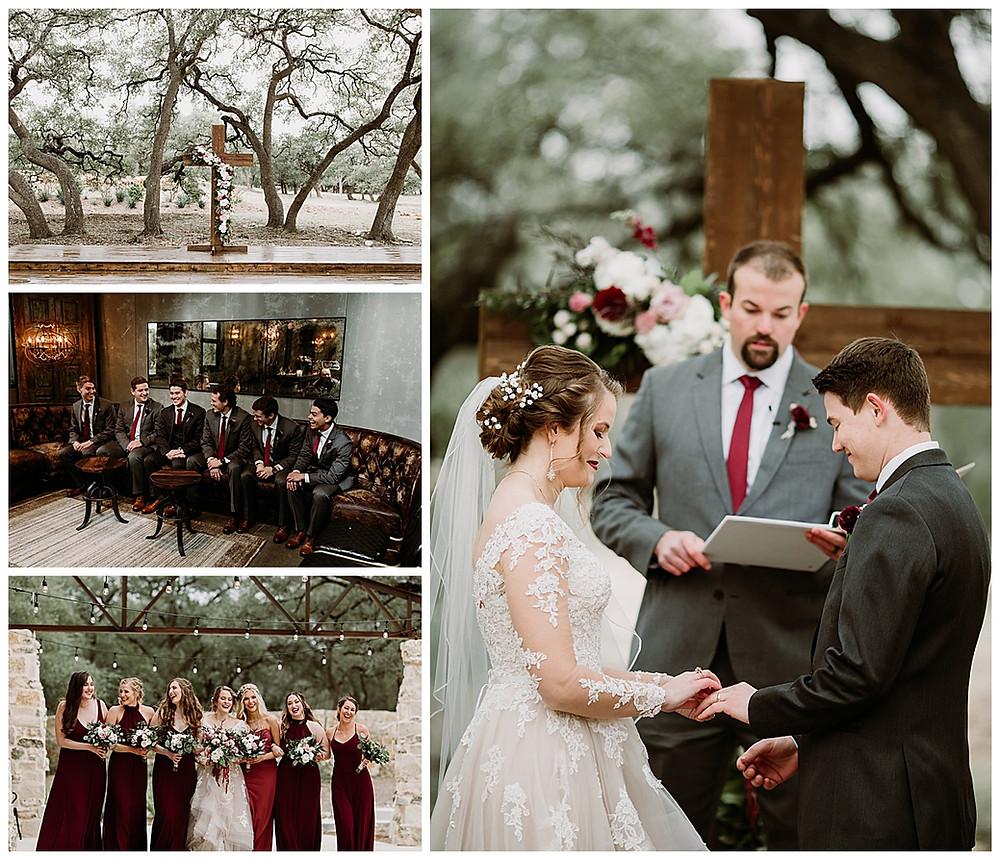 Park 31 Wedding | Spring Branch | Winter Wedding | Hill Country Wedding Planner | San Antonio Wedding Planner | Boerne Wedding Planner | Burgundy Bridal Bouquet | Wedding Ceremony | Winter Wedding Colors