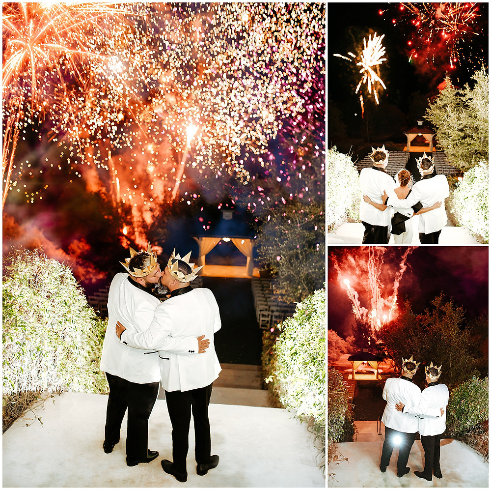 Kendall Plantation Royal Gay Wedding by Snap Chic Photography, Wedding Cape and Wedding Crowns Gold, Stralight Fireworks & FX, Wedding Fireworks in Boerne