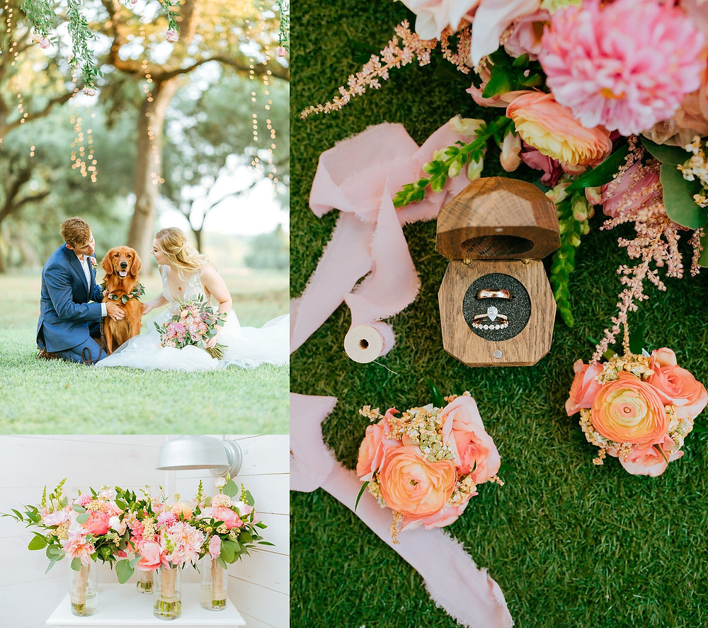 The Oaks at Boerne Wedding | Snap Chic Photography | Boerne and San Antonio Wedding Photographer | Wedding Flat Lay | Dog in Wedding Photos